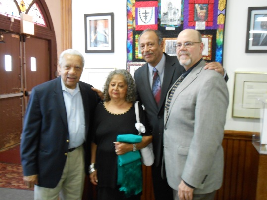 (From left to right) Christopher Reed, Mrs. Jones, Dewey Roscoe Jones II, Richard Courage